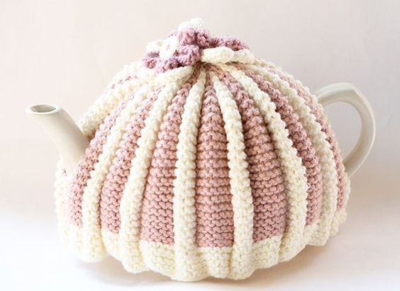 pink and white tea cosy