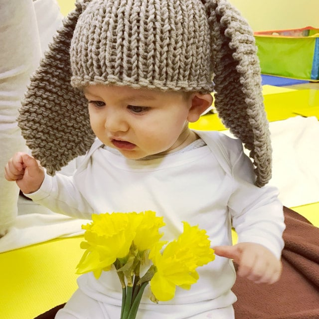 Child wearing a Easter bunny hat with long ears
