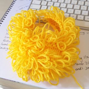 The easter chick slippers shape with loop stitches