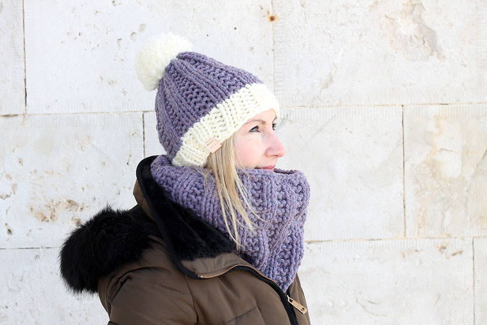 easy cowl and hat knitting pattern