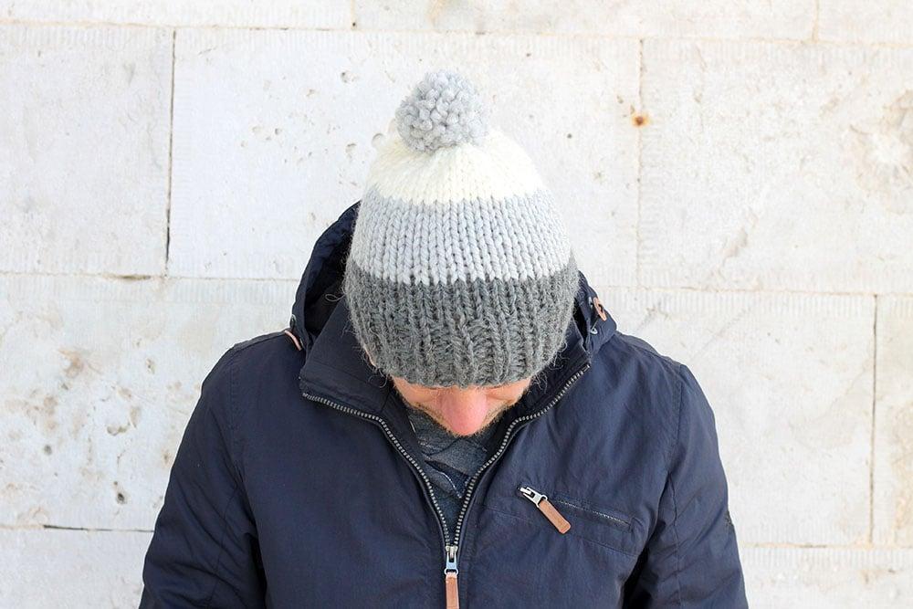 striped knit men's hat with pom pom
