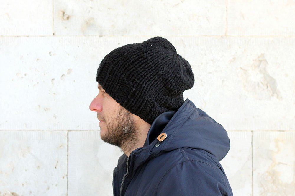 knit hat for men in black yarn