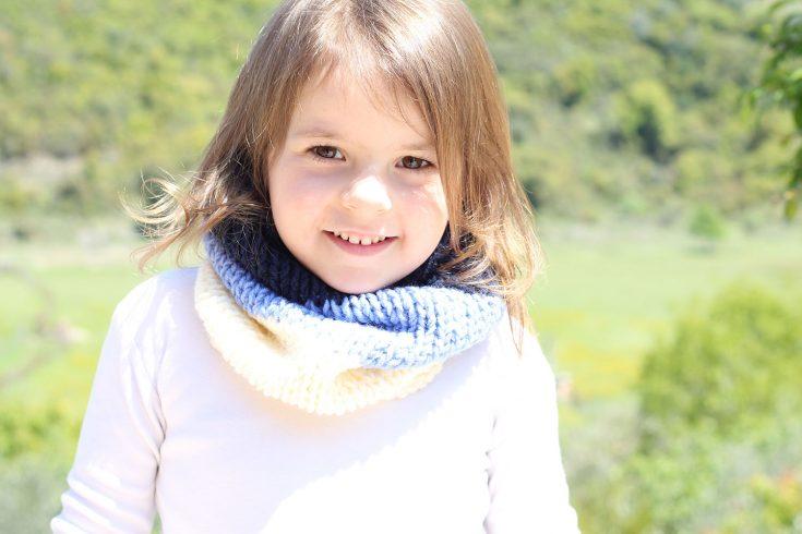 Easy Striped Kids Cowl Free Knitting Pattern