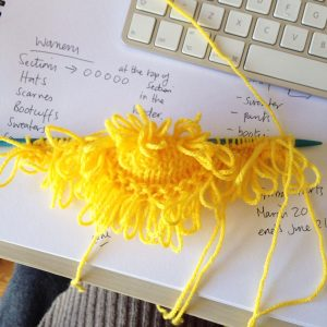 yellow yarn making loops for the loop stitch