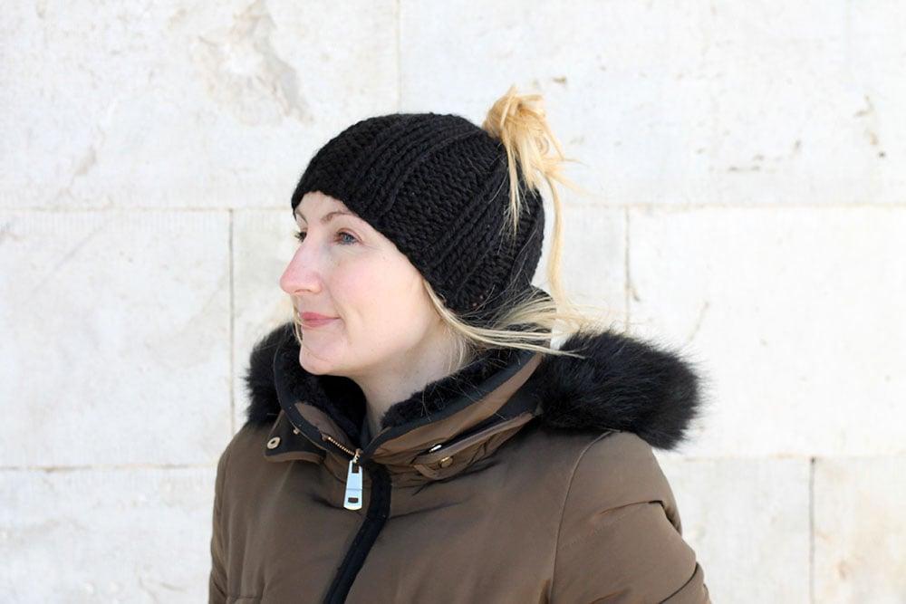 Easy Messy Bun Hat Free Knitting Pattern