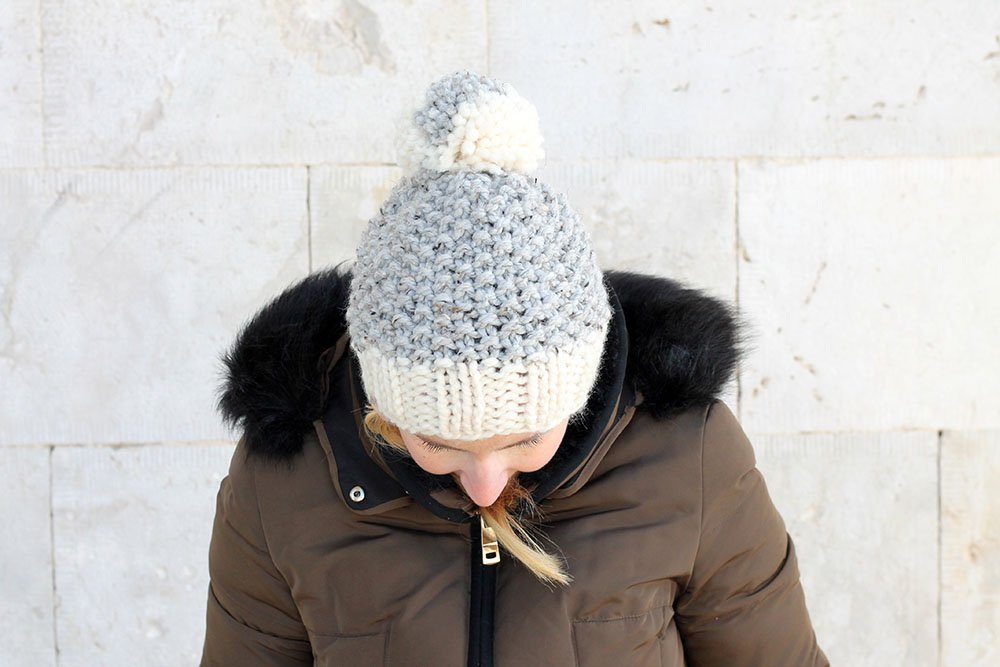 moss stitch beanie hat pattern