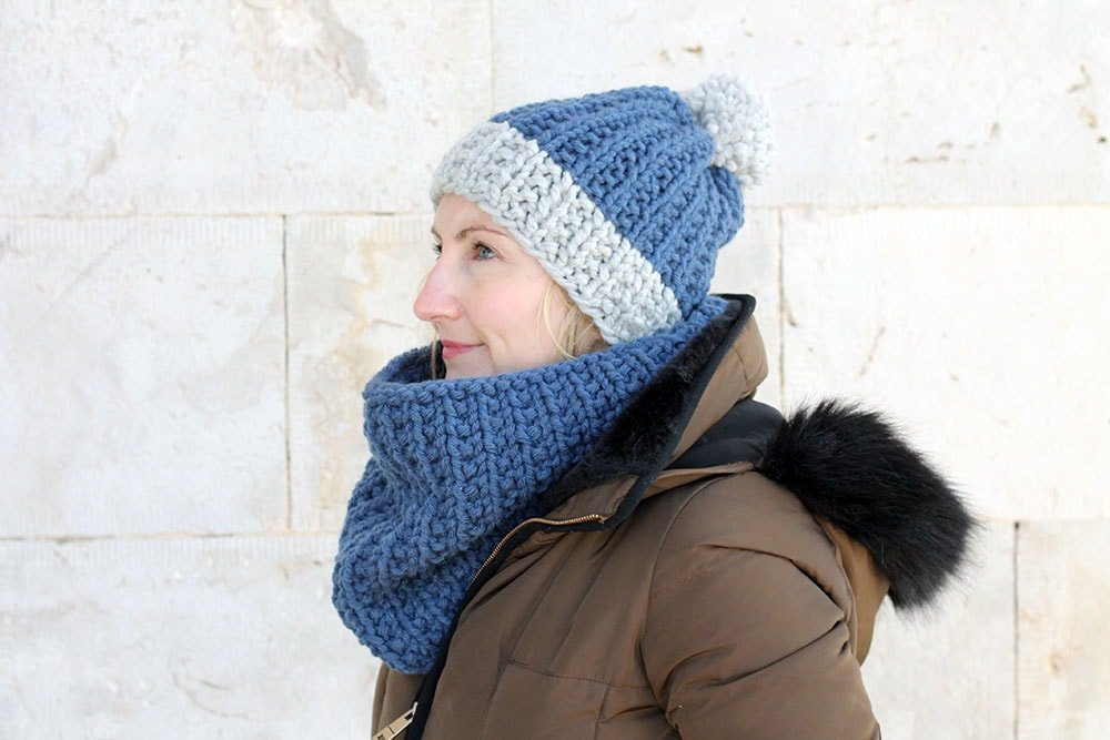 ribbed hat and cowl pattern