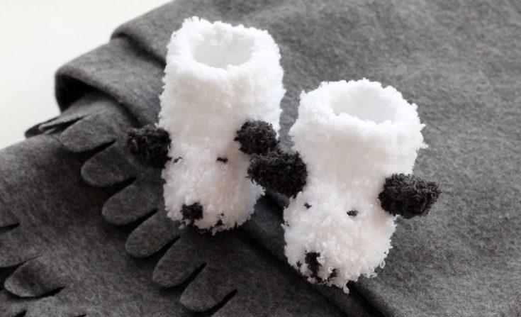 Sheep Baby Booties Knitting Pattern