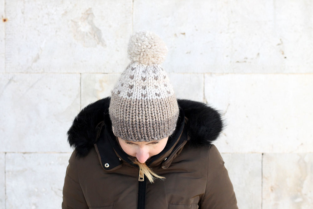 winter pom pom beanie hat