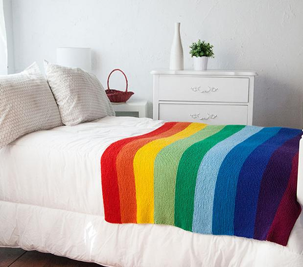 Knit rainbow blanket