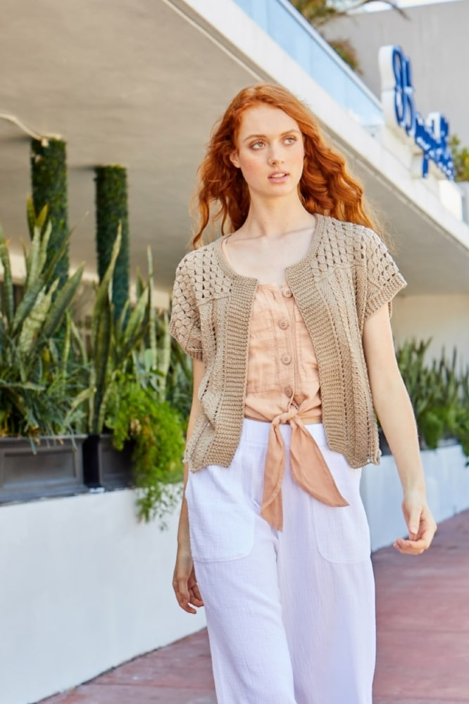 woman wearing a summer knitted bolero