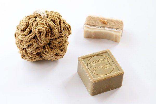 crochet shower puff and soaps