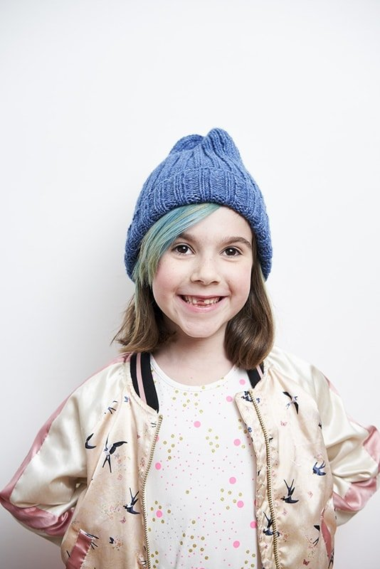 Kids ribbed beanie hat