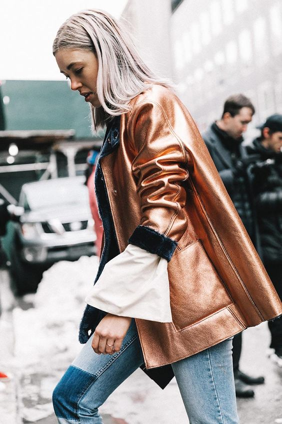 metallic leather jacket outfit