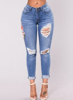 Casual Ripped Distressed Embroidered High Waist Skinny Jeans With Pockets