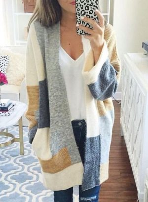 Women's Color Block Long Sleeve Knit Cardigan