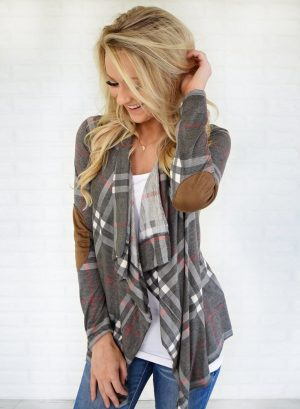 Women's Fashion Long Sleeve Plaid Cardigan