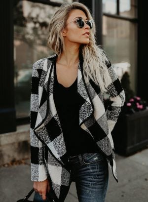 Women's Open Front Turn-down Collar Plaid Coat