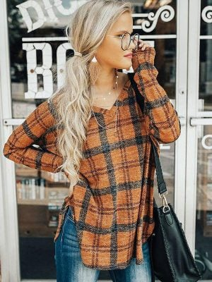 V-Neck Split Hem Plaid Long Sleeve Blouses