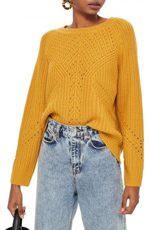 Rib & Pointelle Stitch Sweater
