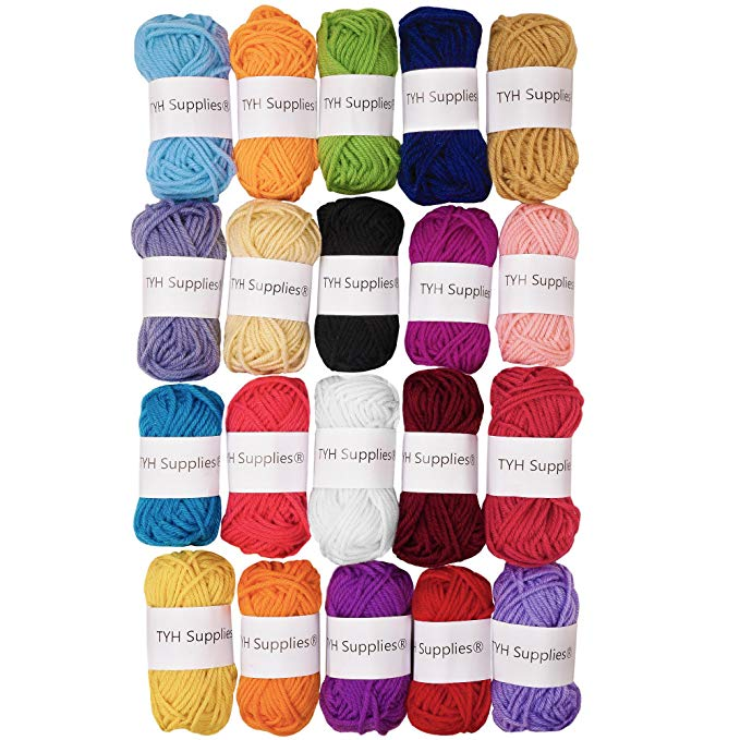 TYH Supplies 20 Skeins Yarn Assorted Colors 100% Acrylic for Crochet & Knitting Multi Pack Variety Colored Assortment