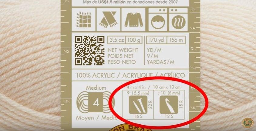 yarn label gauge information