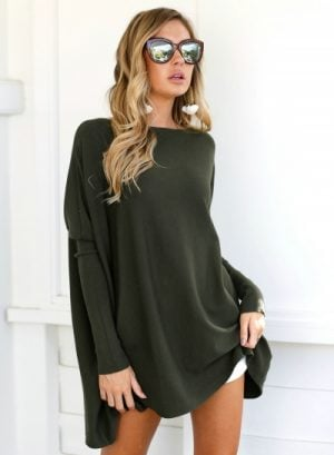 Solid Long Sleeve Knit Tee Shirt