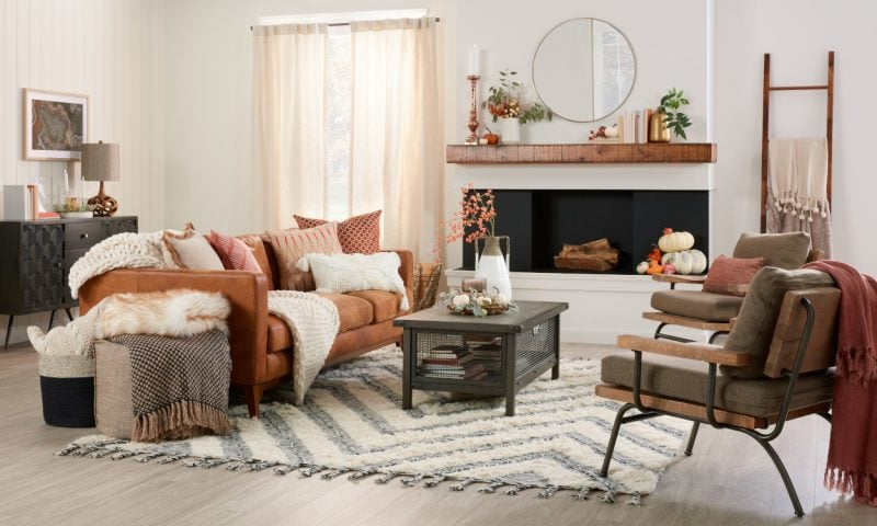 kiving room with cosy fall colours in neutrals