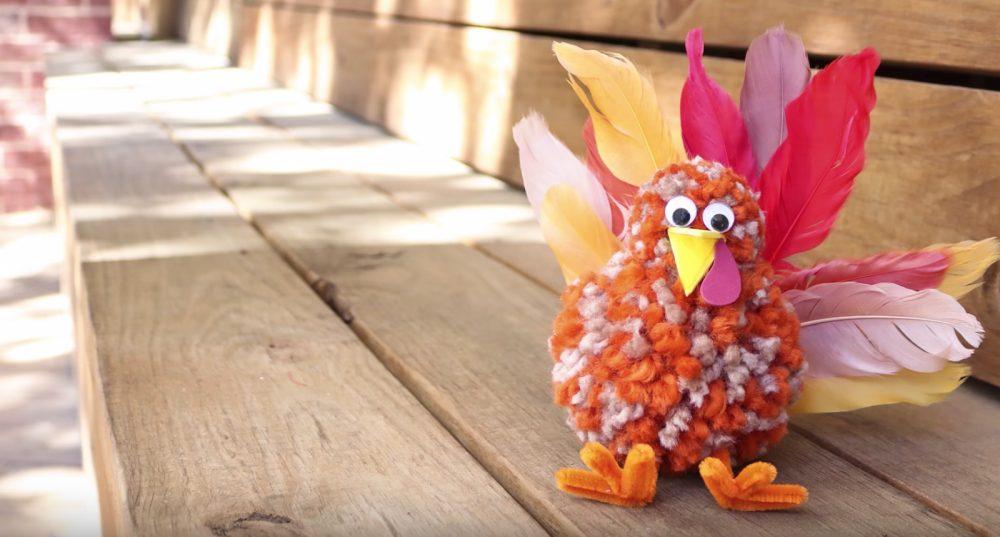 Pom pom turkey with feather tail