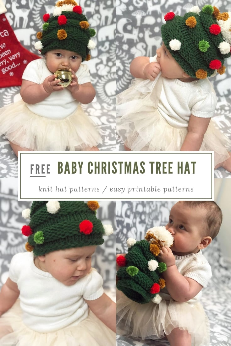 Baby Christmas tree hat free knitting pattern ... 847706c251f