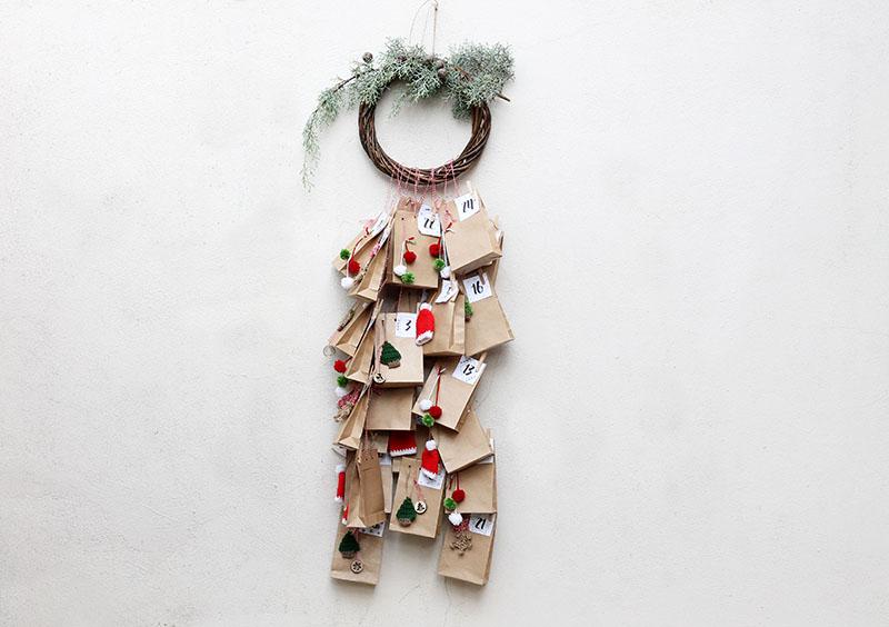 Christmas advent calendar with wreath