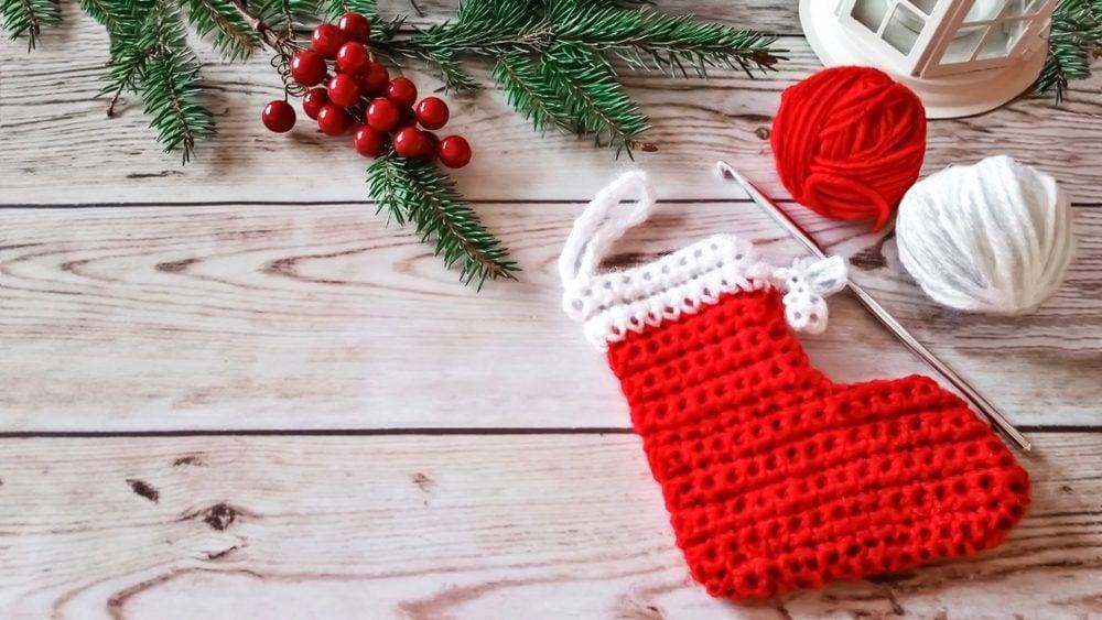 small Crochet Christmas stocking tree decoration