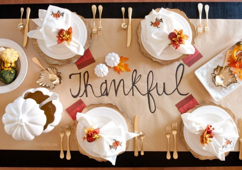 Thankful table runner made from brown paper