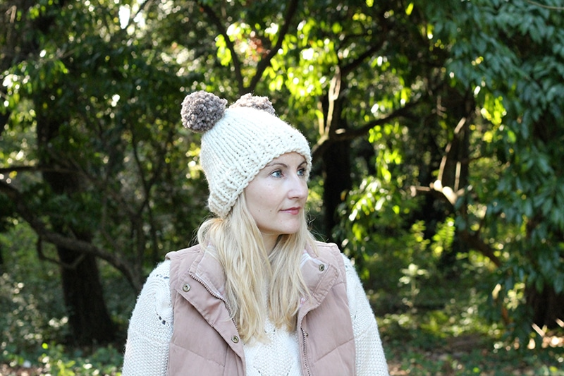 Double pom knitted beanie hat