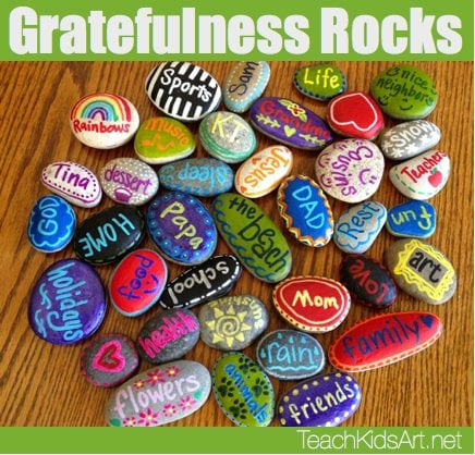 gratefulness rocks painted with words