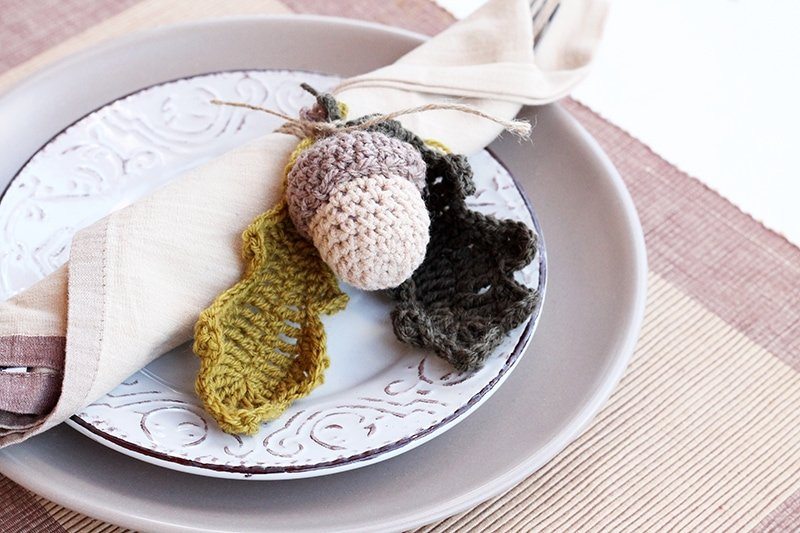 Thanksgiving crochet acorn table setting