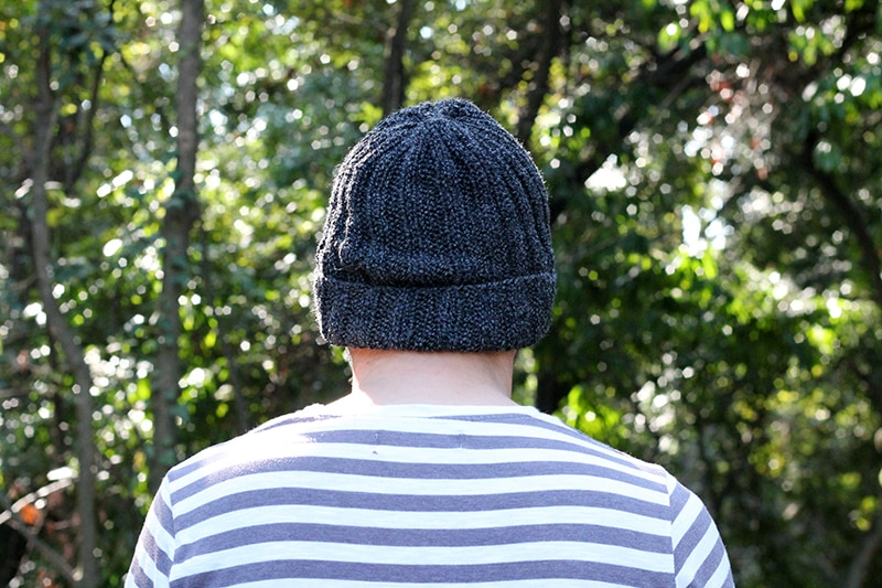 back view of mariners knit hat