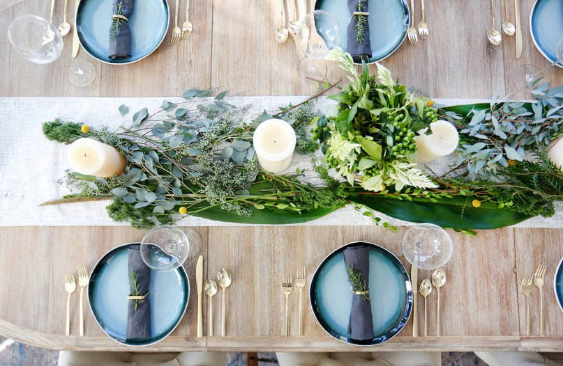 fresh greens on a tablerunner