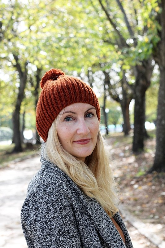 knitted rust colored beanie hat