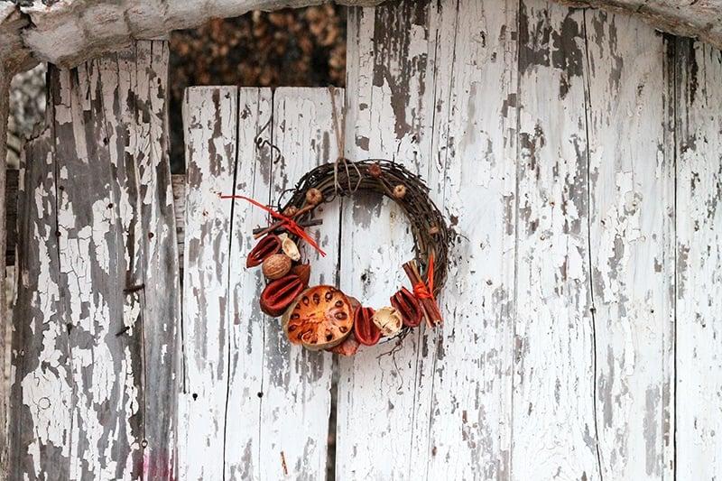 rustic door wreath in fall colours
