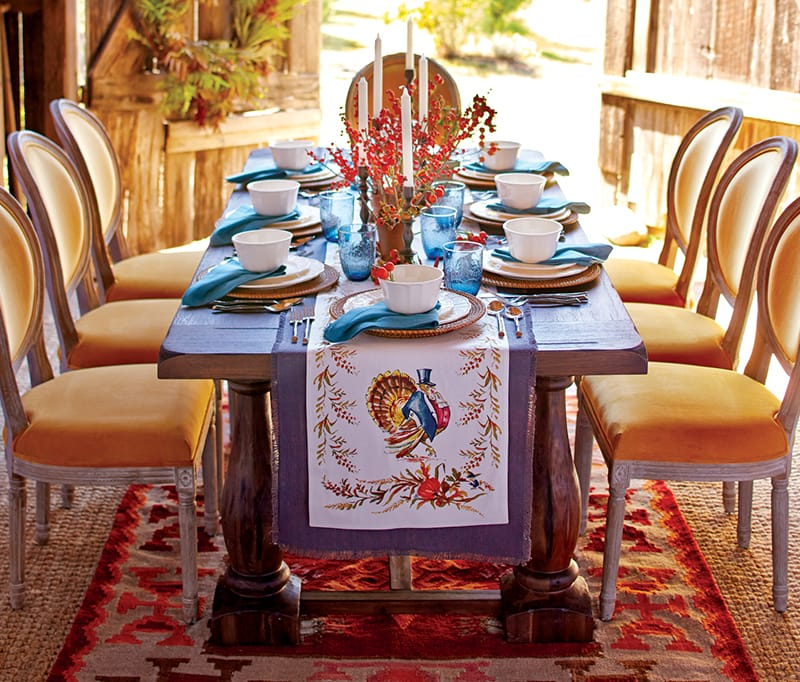 Thanksgiving table with turkey printed table runner
