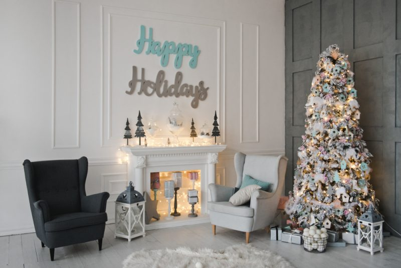 living room with blue and silver Christmas decorations
