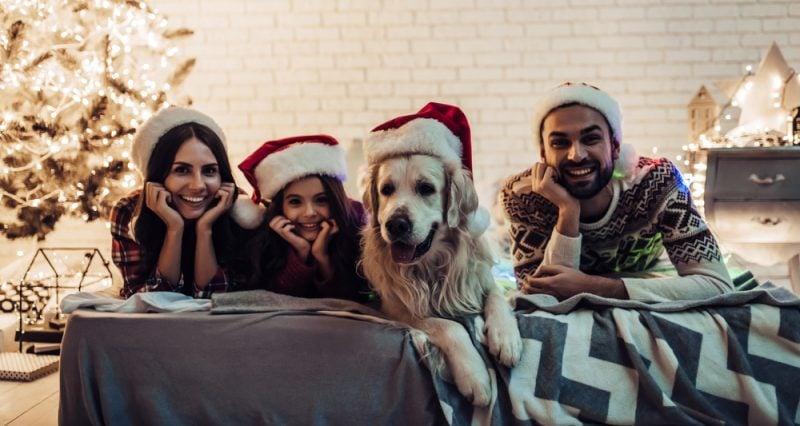 Christmas guests wearing Santa hats