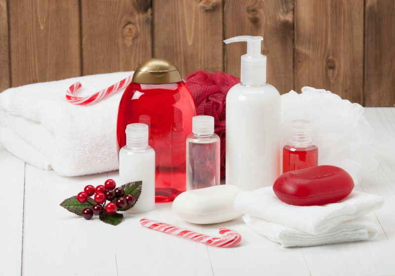 Christmas guest bathroom with red and white bottles