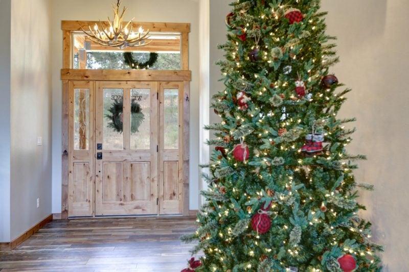 Christmas hallway with large Christmas tree