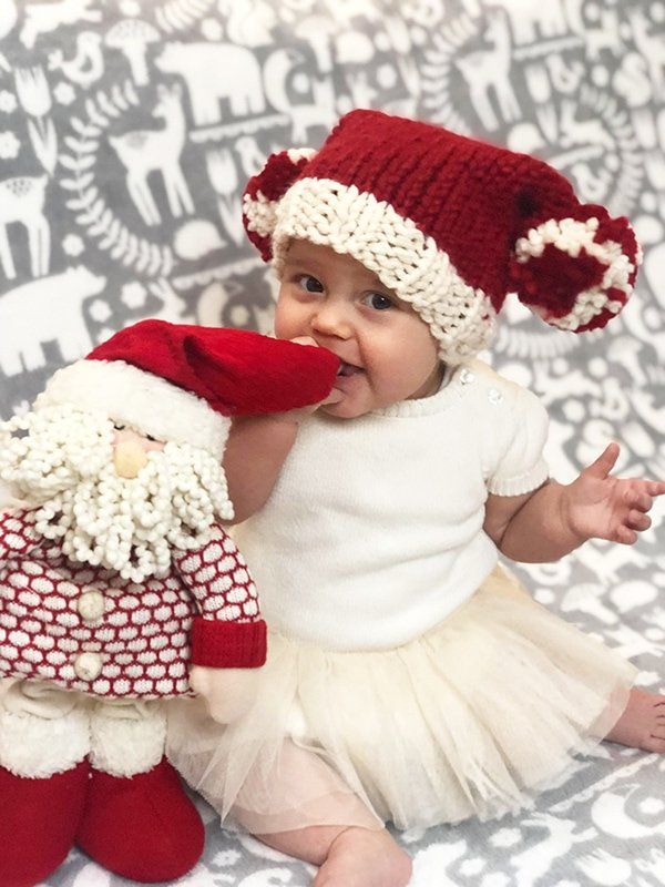 Easy Knit Baby Santa Sack Hat
