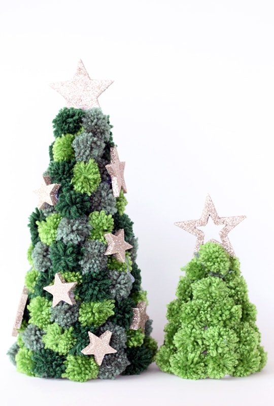 Christmas trees made from mini green pom poms
