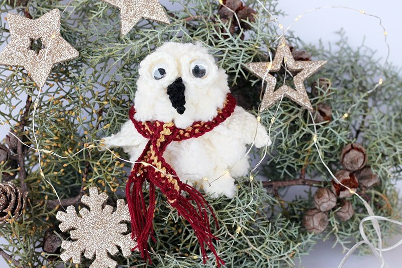 hedwig the owl Christmas decoration with Gryffindor scarf