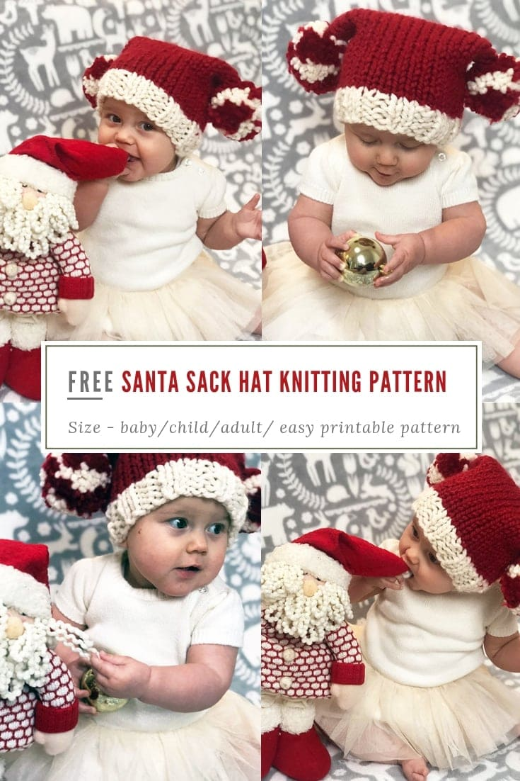 Easy baby Santa hat free knitting pattern