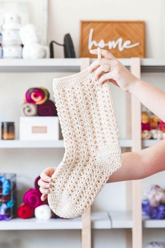Farmhouse crochet Christmas stocking